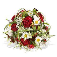 Liebevoller und herzlicher kann eine Umarmung nicht sein. Rund gebundener Strauß in Rot und Weiß mit roten Rosen und z.B. Eustoma, Hypericum, Margeriten, Bartnelken und Schleierkraut. Schmale Typhablätter umschlingen den Strauß. Schicken Sie diese zauberhaften Blumen noch heute mit Fleurop Blumenversand.
