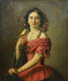 Girl with a Canary, 1858 by Novak Radonić (Serbian, 1826—1890)