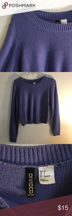 H&M periwinkle sweater Lightly worn sweater from h&m. Periwinkle/purple-blue ish color is so so cute. First pic shows the true color H&M Sweaters