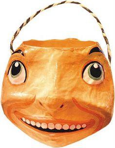Pumpkin paper mache candy container