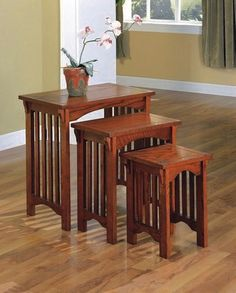 Arts And Crafts Style Home Interior Nesting Tables Mission Furniture Craftsman