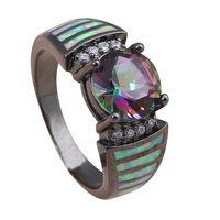 Marque Designer Mystic topaze blanc opale de feu argent 925 gros et de détail mode bijoux anneau USA taille # 5 # 6 # 7 # 8 # 8.5 OR732A