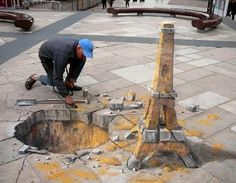 These 3D flat sidewalk drawings continue to amaze me