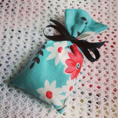 Hand-sewn cotton print lavender sachet filled with Yorkshire lavender.