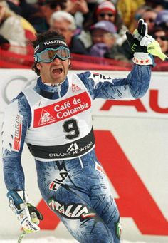 Italian athlete Alberto Tomba at the 1994 Winter Olympics in Lilehammer, Norway.  Tomba was a dominant star of  Slalom and Giant Slalom skiing in the late 80s and into the 90s.  He was also a reputed playboy and a bombastic personality. /NSC