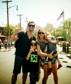 Daniel Goddard from The Young and the Restless, his wife Rachael, and sons Ford and Sebastian, wearing Charriol sunglasses