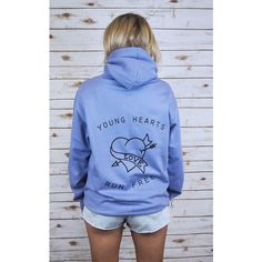 Rock On Ruby Young Hearts Run Free Hoodie ($63) ❤ liked on Polyvore featuring tops, hoodies, blue, rock hoodies, hooded pullover, blue hoodies, neon hoodie and fitted hoodie