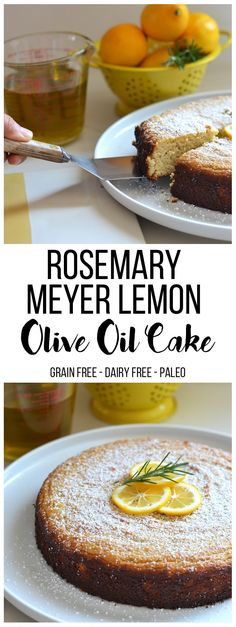 This Rosemary Meyer Lemon Olive Oil Cake is Grain free, refined sugar free and dairy free aka - Paleo! It has such fabulous flavor and is perfect for any party or brunch!