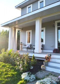 White front porch columns w decorative detailing love going to do craftsman porch with diy porch columns diy curtains solutioingenieria Image collections