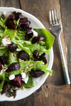 Maple Roasted Beet and Goat Cheese Salad | Naturally Ella