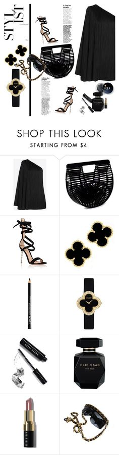 """""""TOTAL BLACK 2"""" by konstantinabday26oct72 ❤ liked on Polyvore featuring Cult Gaia, Gianvito Rossi, NYX, Van Cleef & Arpels, Bobbi Brown Cosmetics, Elie Saab and Chanel"""