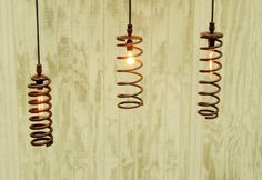 Hanging Industrial Pendant Large Spring Lights - Industrial Sabby Rust Springs Upcylced to Pendant Lights A