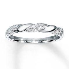 Diamond Anniversary Ring 1/20 ct tw Round-cut 10K White Gold