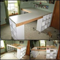How To Build A Custom Craft Desk theownerbuilderne. Do you…How To Build A Custom Craft Desk theownerbuilderne. Do you…Ironing board on wheels: Your sewing room needs this - IKEA HackersIroning board on wheels: Your sewing Sewing Room Organization, Craft Room Storage, Craft Room Shelves, Craft Tables With Storage, Office Storage, Cube Storage, Toy Storage, Storage Ideas, Space Crafts