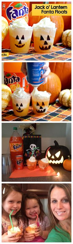 Halloween Snacks - Check out this Yummy recipe for Jack O Lantern Fanta Floats. It is just like an orange creamsicle #SpookySnacks #Shop