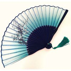 Silk Bamboo Hand Fan Folding Fan with Cherry Blossom flower and... ❤ liked on Polyvore featuring #home, #home decor, cherry blossom home decor, handmade home decor, bamboo home decor and floral home decor