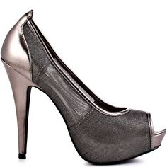 Play hide and seek with this sheer style by Just Fab.  A pewter mesh upper creates mystery while a contrasting piping develops a fun pop.  Creating a sexy finish is a 5 inch heel and 1 inch platform.