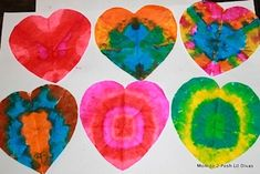 tie dye hearts with coffee filters, water colors , and q tips or straws