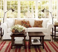 Fabulous Living Room Idea and Its Creative Idea: Stripes Carpet Cool Arch Lamps White Sofa French Windows ~ clusterfree.com Living Room Inspiration
