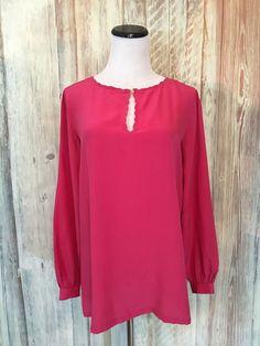 Vtg Helyett Silk Blouse Fuschia Pink Italy Milano Keyhole Neck LS sz 40 6 EUC…