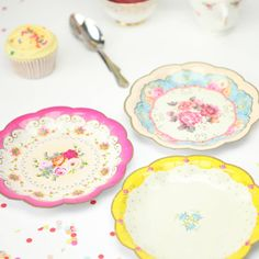 Vintage Look Paper Plates Floral Shabby Chic party Elegant Birthday Tea Party plate  sc 1 st  Pinterest & Party Tableware paper cups plates straws and jelly pots and cases ...