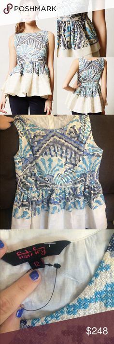 NWOT fish fry Kerala peplum top manish anthro 12 NWOT rare and hard to find fish fry by manish Arora for anthro peplum top size 12 🚫🚫🚫NO TRADES, reasonable offers only Anthropologie Tops