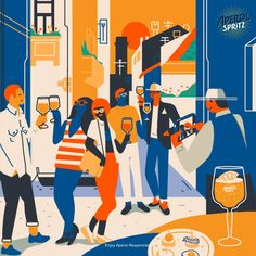 Last year I've been approached by We Are Social to help them create a series of illustration for the Aperol Spritz social campaign The goal was representing the story of Aperol Spritz and his convivial soul in the different ages. Social Campaign, Jobs Apps, Free Prints, Party Fashion, Rey, Branding, Animation, Poster, Image