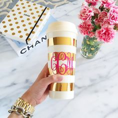Monogrammed coffee cup.