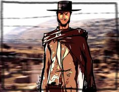 CLINT EASTWOOD TRIBUTE.      Illustration of Clint Eastwood in his role of hard cowboy.  pen + paper + marker pen + photoshop + illustrator