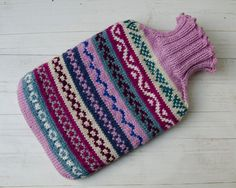 Knitted Hot water bottle cover merino wool fairisle Multicoloured pink on Etsy, £24.68