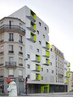 DPU Social Housing, Paris 18, 2009 by X-TU architects #architecture #socialhousing #colors #paris #france #fluo #neon