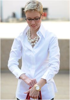 white shirt and pearls love it! #ecrafty find glass pearls at http://www.ecrafty.com/c-595-glass-pearls.aspx
