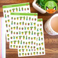 Cactus MINI Mixed Succulent Plant Sticker Set - Planner Stickers - Planner Decorations - Kikki-K & Erin Condren Sticker Sets by FoxAndCactus on Etsy https://www.etsy.com/listing/270504697/cactus-mini-mixed-succulent-plant