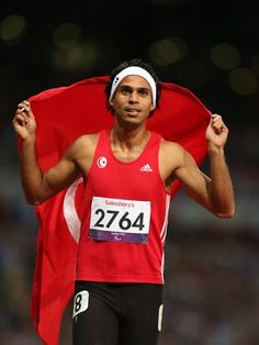 Mohamed Farhat Chida of Tunisia wins gold in the men's 400m - T38 Final on Day 5 of the London 2012 Paralympic Games at theOlympic Stadium