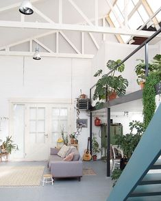 Wednesday plant algebra: high ceilings + big plants + + an abundance of sunshine x lazy couch = Rena's dream studio ☀✨ :@studiohearhear #urbanjunglebloggers