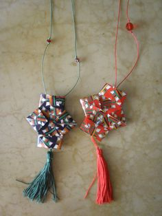 origami necklace lanterns with beads - colors blue and red… Origami Lantern, Origami Necklace, Origami Flowers, Diy Paper, Lanterns, Beads, Trending Outfits, Unique Jewelry, Handmade Gifts