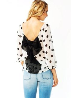 bow accent polka dot blouse