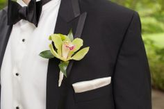 Cymbidium Orchid Boutonniere   Leigh Wells Photography   TheKnot.com