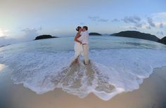 Love the lens used on this beach wedding picture in St. John.