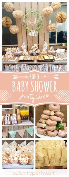Take a look at this lovely neutral vintage boho baby shower! The stacked donuts scattered with fresh flowers are wonderful! See more party ideas and share yours at CatchMyParty.com #catchmyparty #partyideas #boho #babyshower