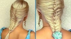 Romantic summer hairstyle for medium long hair French cage / mermaid braid tutorial, via YouTube.