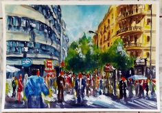 Santiago downtown. Watercolor.