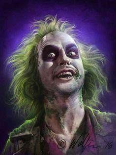 Michael Keaton as Beetlejuice Tim Burton Kunst, Tim Burton Art, Arte Horror, Horror Art, Halloween Kostüm, Halloween Costumes, Costumes Kids, Family Costumes, Couple Halloween