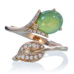 18 Karat Rose Gold Jade And Diamond Leaf Wrap Ring