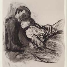 Käthe Kollwitz, Lovers nestling against each other, charcoal - Käthe Kollwitz Museum