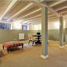 Tips for Painting an Exposed Basement Ceiling Unfinished basement ideas Basement laundry room ideas Basement ceiling ideas Painting basement ceiling Unfinished basement laundry room Diy basement ideas Unfinished Basement Ceiling, Low Ceiling Basement, Basement Lighting, Unfinished Basements, Ceiling Lighting, Basement Carpet, Painting Basement Walls, Unfinished Basement Decorating, Basement Staircase