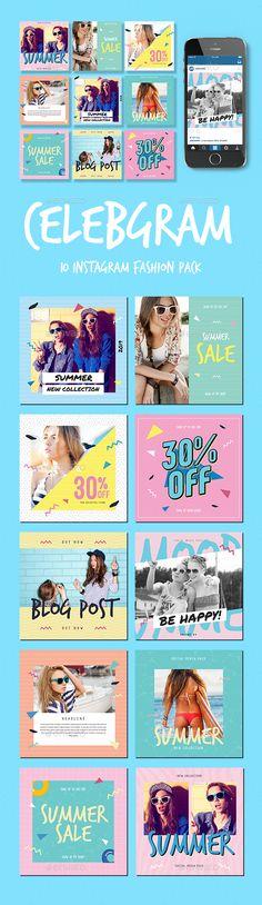 Celebgram_Instagram Fashion Pack — Photoshop PSD #pattern #miami • Download ➝ https://graphicriver.net/item/celebgram_instagram-fashion-pack/20276398?ref=pxcr