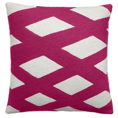 Judy Ross Textiles Hand-Embroidered Chain Stitch Plaid Throw Pillow cream/cerise