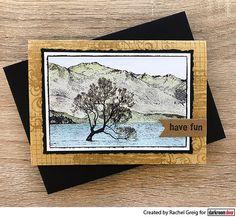 Colouring Darkroom Door Lake Wanaka Photo Stamp with Distress Inks. Card by Rachel Greig