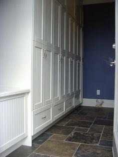 home lockers mudroom build- Baer Home Design Floor Design, House Design, Home Lockers, Mudroom Laundry Room, Slate Flooring, My Living Room, Tall Cabinet Storage, Garage Storage, Interior Design Living Room